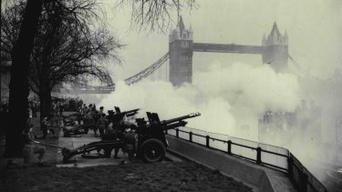 A salute of 62 guns being fired at the Tower of London in honour of the first anniversary of the Queen's accession. February 6, 1953.