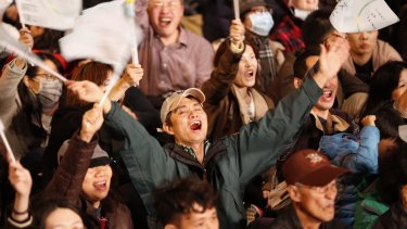 Jubilant scenes at the Democratic Progressive Party headquarters in Taipei as early numbers suggested Tsai Ing-wen was sweeping to power.