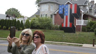 """A large """"T"""" in the borough of Staten Island in New York in tribute to Donald Trump."""