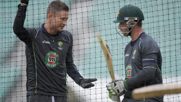 Clarke and Hughes at training in England last year.