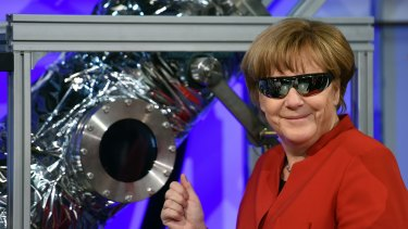 German Chancellor Angela Merkel at the European Astronauts Centre in Cologne this week.