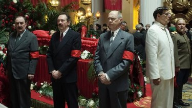 Five committeeman and a funeral: Dermot Crowley (left), Paul Whitehouse, Steve Buscemi, Jeffrey Tambor and Paul Chahidi in <i>The Death of Stalin</I>.