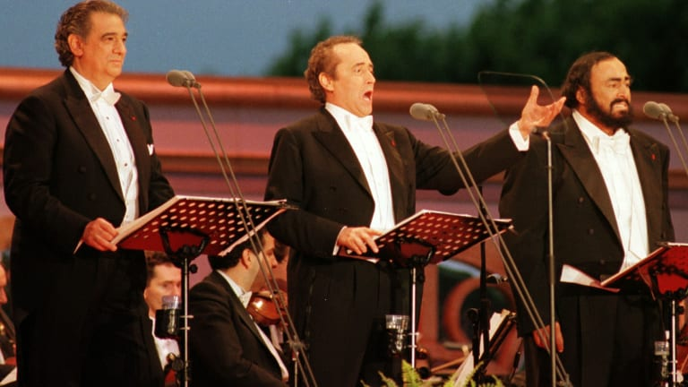 Tenor Jose Carreras, centre, during a performance with Placido Domingo and Luciano Pavarotti in Paris in 1988.