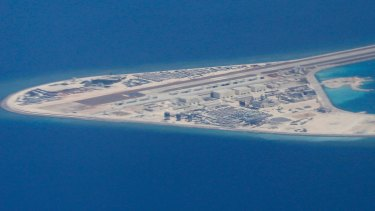 Chinese structures and an airstrip on the man-made Subi Reef at the Spratly group of islands.