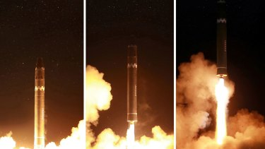 The Hwasong-15 intercontinental ballistic missile, in North Korea.