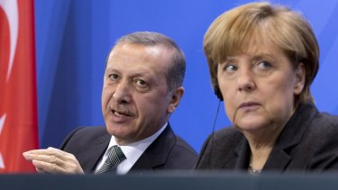 Mr Erdogan and German Chancellor Angela Merkel during a joint press conference on April 15.