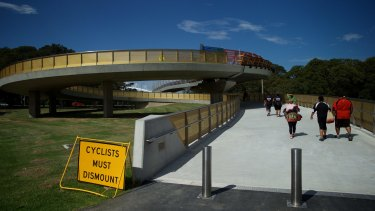 The $38 million Tibby Cotter Bridge over Anzac Parade.