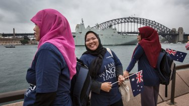 Indonesian students in Sydney on Australia Day this year. Australia is the most popular study destination for Indonesian students.