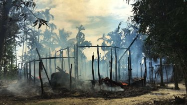 A burned house in Gawdu Zara village, northern Rakhine state, Myanmar.