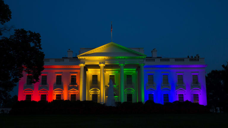 The White House is illuminated in celebration after the Supreme Court ruled that the Constitution guarantees a right to same-sex marriage.