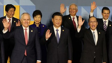 Mr Najib (back row, second from right) poses with other leaders at the Asia-Pacific Economic Cooperation summit in Manila in November 2015.