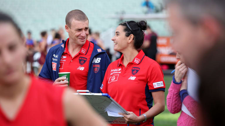 Big loss: Michelle Cowan has developed a good relationship with senior men's coach-in-waiting, Simon Goodwin, during her time at the Demons.