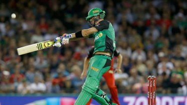 Gun for hire: Kevin Pietersen hits a six for the Melbourne Stars during the match against the Renegades on Saturday night.
