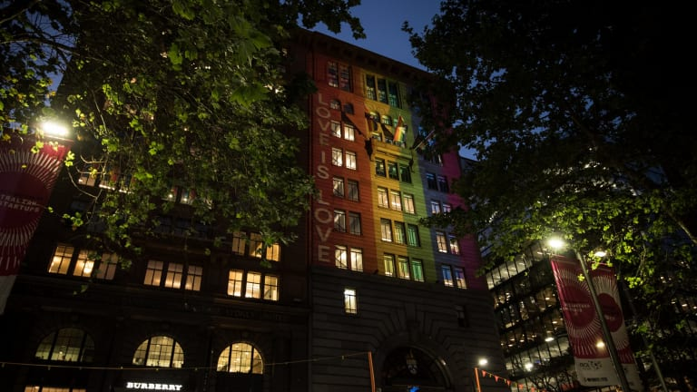 To showcase its support for marriage equality, Atlassian unveils a light installation in George Street, Sydney.