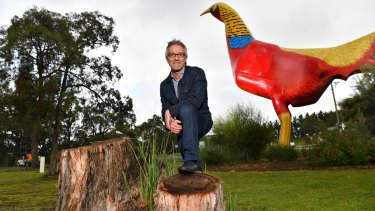 Build it and they will come: Ron Weinzierl in front of the park's famous golden pheasant sculpture.