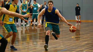 Pistons pumping: Detroit big man Cameron Bairstow on the run at the Boomers camp.
