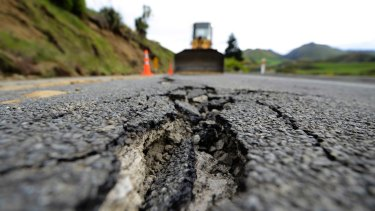 Large cracks in Highway 7 following a 7.5 magnitude earthquake in November.