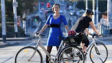 Katherine Copsey, acting mayor of Port Phillip Council, on St Kilda Road.