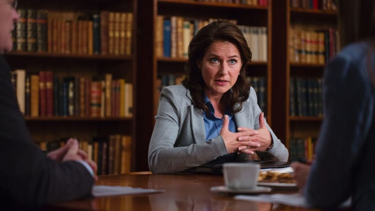 Birgitte Nyborg, Danish prime minster in the TV show Borgen. Quite possibly in favour of a cashless economy.