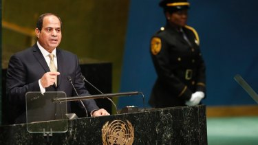 Egyptian President Abdel Fattah al-Sisi  addressing the UN General Assembly in September.