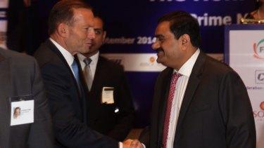 Former prime minister Tony Abbott with mining magnate Gautum Adani.