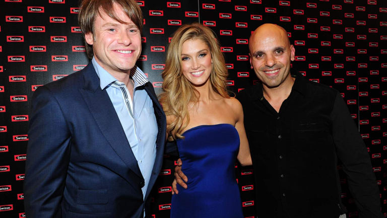 Swisse chief executive Radek Sali (left), singer Delta Goodrem, who promotes Swisse, and Swisse partner Michael Saba.