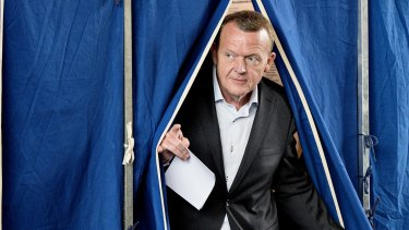 Lars Loekke Rasmussen, then leader of opposition party Venstre, casts his vote during the general election in Copenhagen on Thursday.
