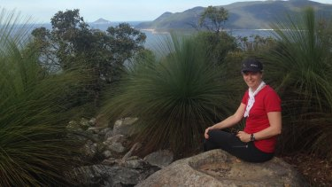Sally Piper at Wilsons Promontory, where her novel is loosely based. Piper did a five-day solo hike in the area as research for the book.