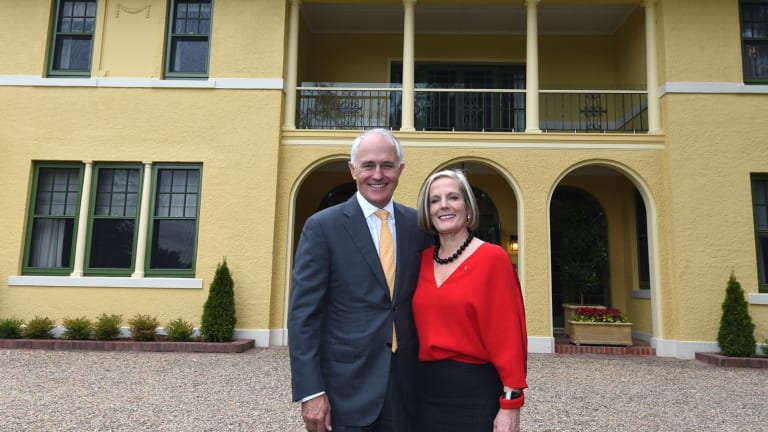Prime Minister Malcolm Turnbull and wife Lucy Turnbull outside The Lodge.