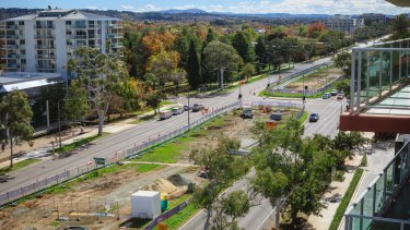 Work on Canberra's light rail in Northbounre Avenue on Wednesday, as seen from Pacific Suites.