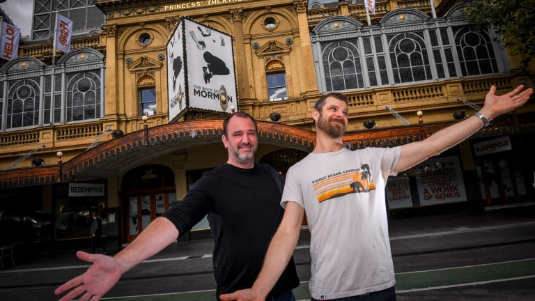 Trey Parker and Matt Stone in Melbourne for the Australian premiere of The Book of Mormon.