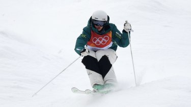 Jakara Anthony in action the women's moguls at the Phoenix Snow Park in PyeongChang.