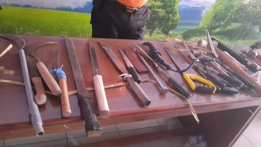 Some of the weapons confiscated from Kerobokan prison after the clashes.
