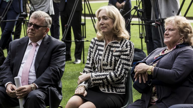 Donors Barry Lambert, far left, and Joy Lambert, far right, with University of Sydney Chancellor Belinda Hutchinson at the University of Sydney on Friday.