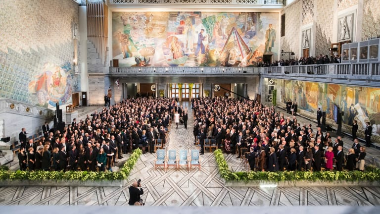 The Nobel Peace Prize 2017 ceremony in Oslo on Sunday.