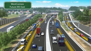An artist's impression, looking south-west, of the WestConnex project's King Georges Road interchange.