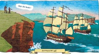 The First Fleet at Botany Bay. Illustration: Matt Davidson