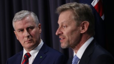 Assistant Treasurer Michael McCormack and the ABS chief statistician David Kalisch explain the census outage on Wednesday.