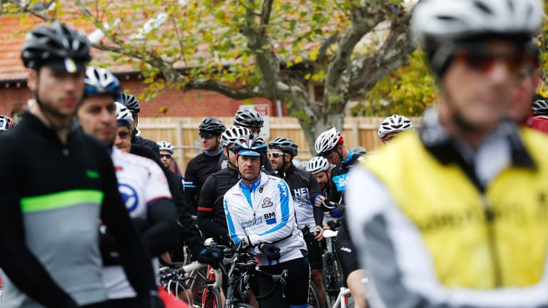 Over 1000 bike riders rode a 13km around Kew Boulevard to protest against someone who had been laying tacks on the road.