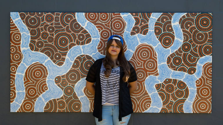 Christianaray Weetra, 23, used to be homeless after fleeing family violence. She is now studying art at RMIT.