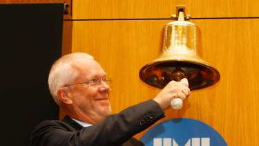 The ABC's next chairman Justin Milne ringing the ASX bell.