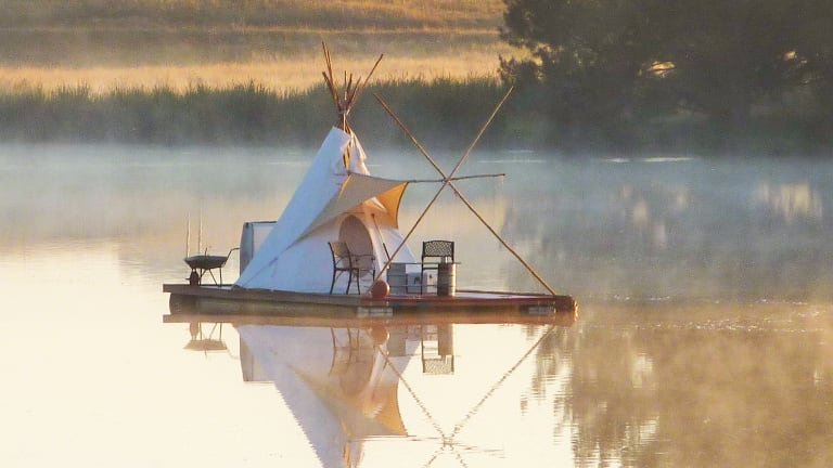 William Woodbridge called this floating tepee on Lake Ginninderra home for several months in 2012.