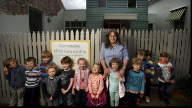 Rays of sunshine: Castlemaine Childcare Centre co-ordinator Ayesha MacEwan and her  kindergarten kids have turned to renewable energy by raising money for solar panels.