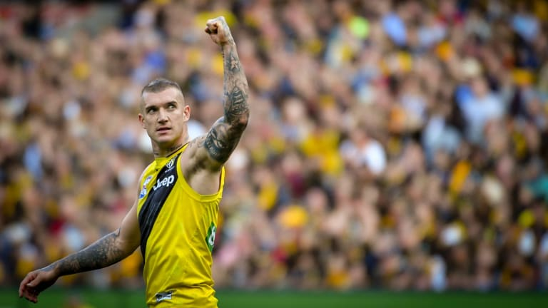 Champion: Dustin Martin played a key role in Richmond's premiership success in 2017.