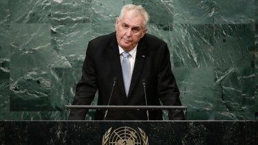 Czech President Milos Zeman at the UN General Assembly.