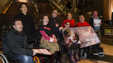 Members of the group 'People with Disabilities' protest against Me Before You at the Jam Factory Village Cinemas in South Yarra on June 16, 2016.