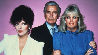 Original Dynasty cast members (from left) Joan Collins, John Forsythe and Linda Evans.