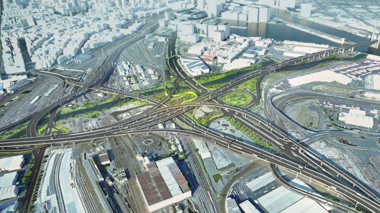 The proposed series of flyovers to be built as part of the West Gate Tunnel.
