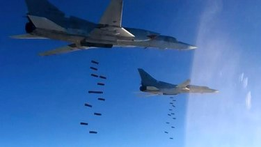 Russian air force Tu-22M3 bombers strike IS targets in Syria, in January.