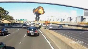 Footage from a motorist's dash cam captured the Essendon crash.